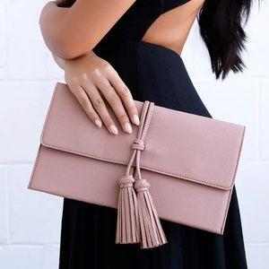 Handbags - White Tassel Clutch